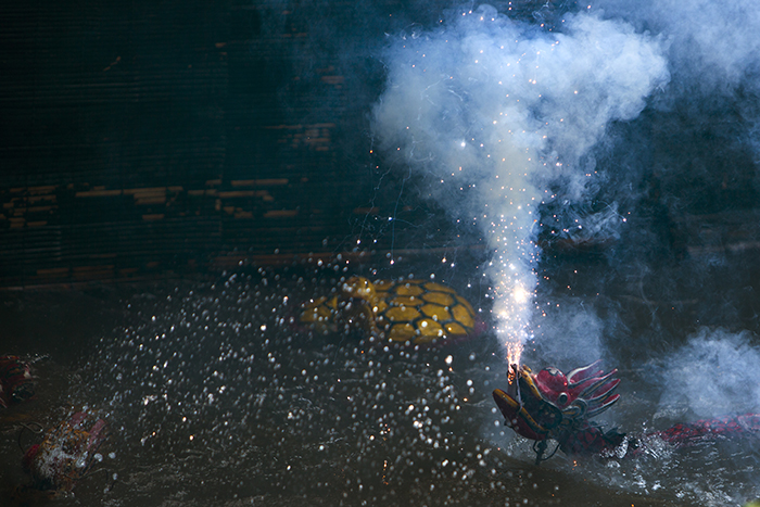 Dragon's fire-breathing performance